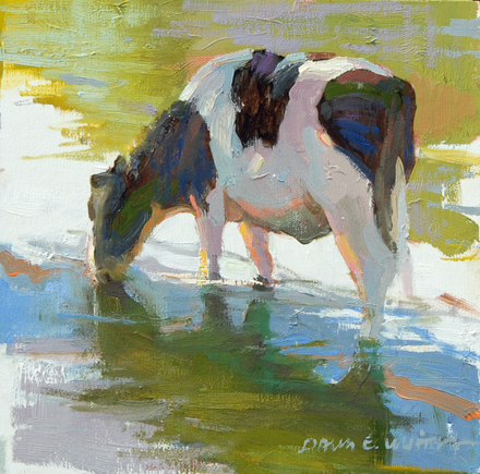SOLD - Moo Phases IV, 8x8, oil