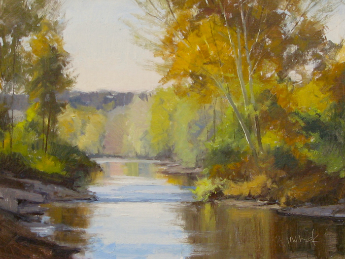 SOLD - Sycamore on Lick Creek, 18x24, oil