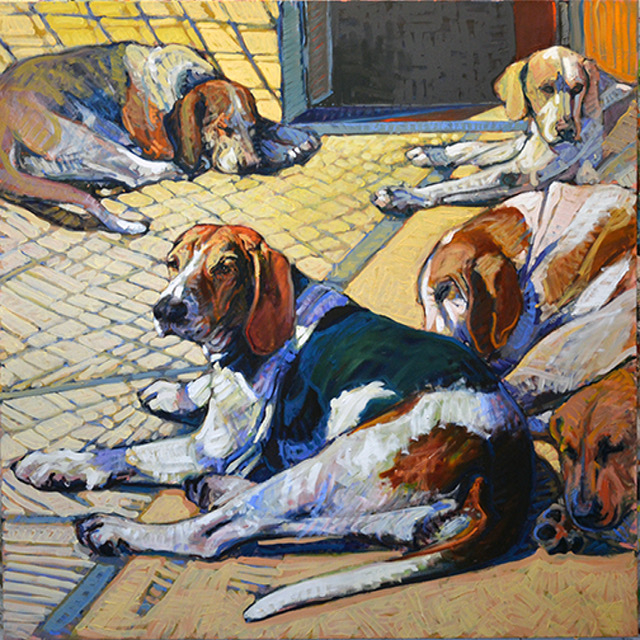 SOLD - Five Resting, 40x40, oil on linen