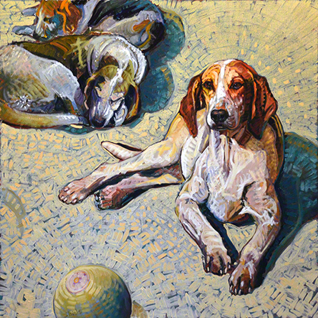 Three and a Ball, 36x36, oil on linen