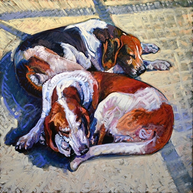 Two Resting, 36x36, oil on linen