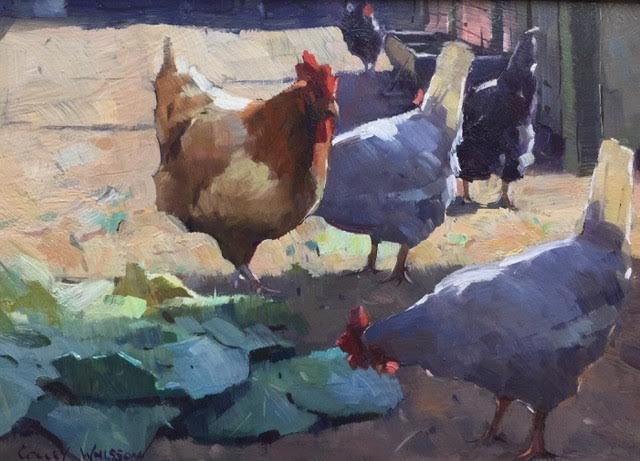 SOLD Morning Feeding Time, 7x10, oil