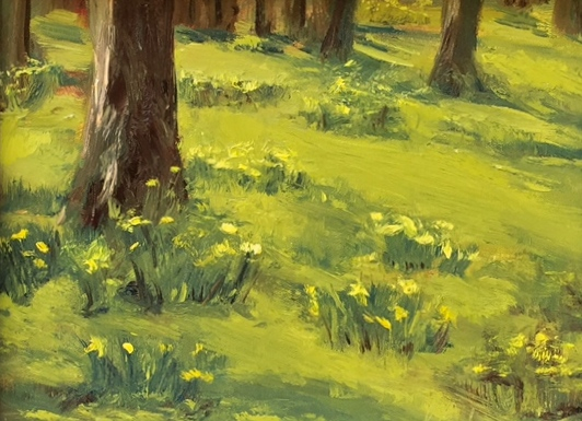 Early Daffodils, 9x12, oil