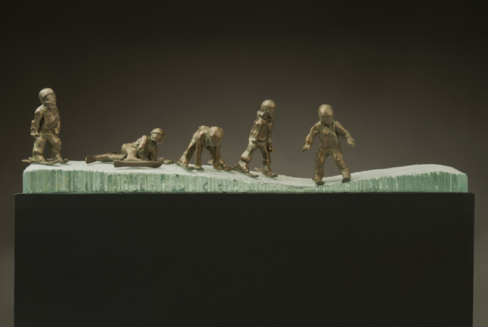 Ski School, 15x22x3, bronze/glass