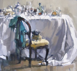 Table, Pug & Turquoise, 24x26, oil on linen