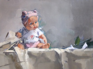 Pink Hat & Doll, 15x20, oil on linen