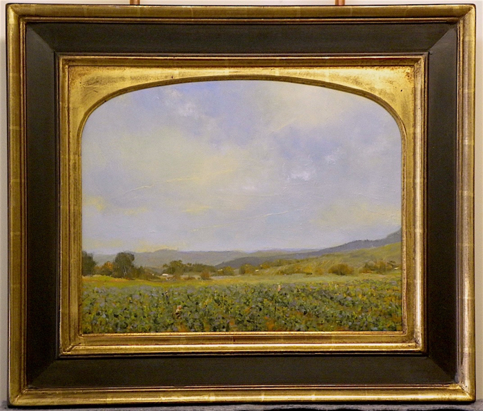 SOLD - Primavera framed, customized arched frame with 22k, 16x20, oil on linen