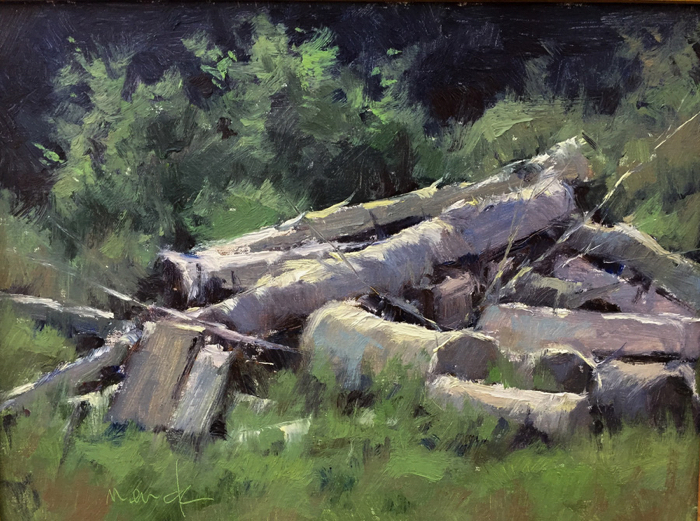 Birch Logs, 12x16, oil