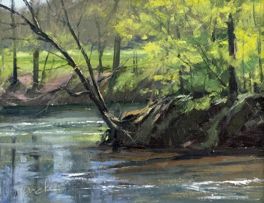 SOLD - Harpeth River Cut Bank, 11x14, oil