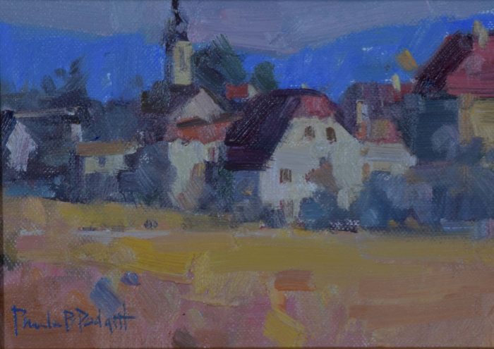 SOLD - Happy Little Village, 5x7, oil
