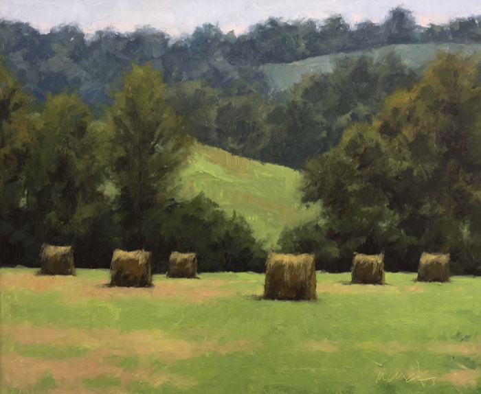 Bedford County Hay Bales, 20x24, oil