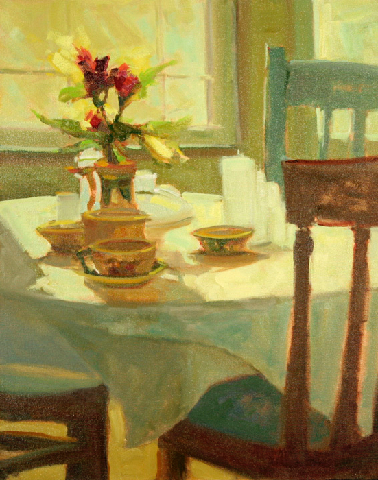 Breakfast at Rock Gardens Inn, 36x24, oil