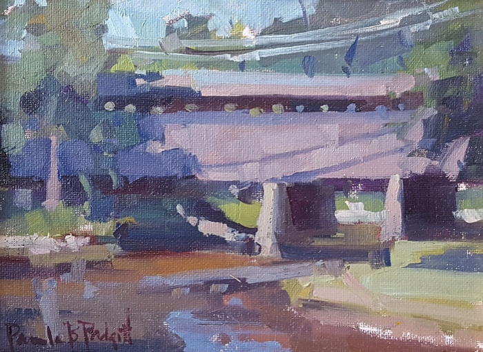 Days Gone By...Covered Bridge, 6x8, oil