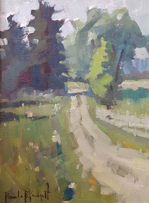 Dirt Road And Pine Trees, 8x6, oil
