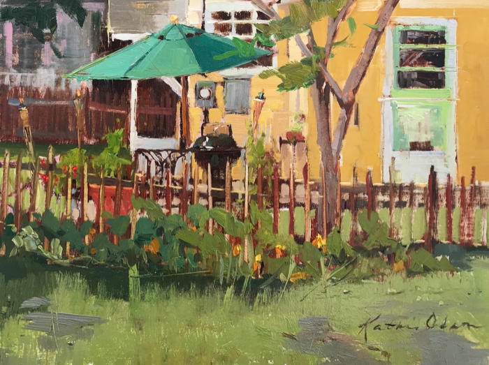 Aren't Backyards the Best!, 12x16, oil on linen