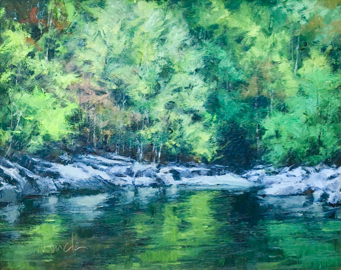 Mountain Stream Reflections, 16x20, oil