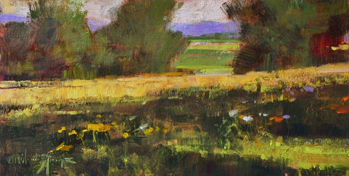 Blue Ridge Meadow, 10x20, oil on linen