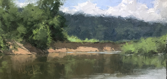 Cutbank At The Elbow, 8x16, oil