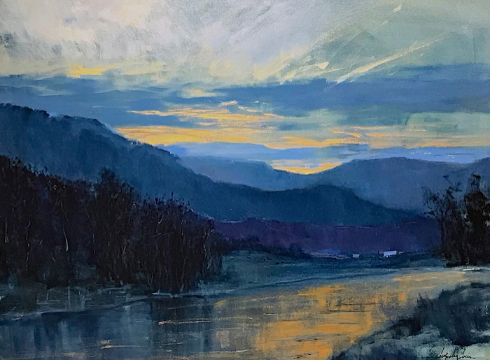 Evening On The New River, 30x40, oil on linen