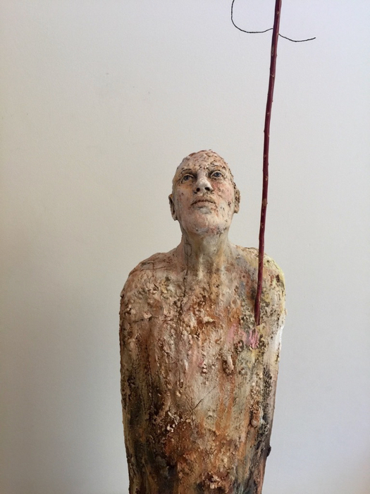 SOLD - Eyes To The Sky, 27x10x8, stoneware, wood, twine