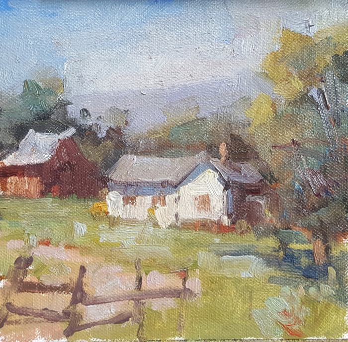 SOLD - Farmhouse, 6x6, oil