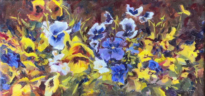 Winter Pansies, 10x20, oil