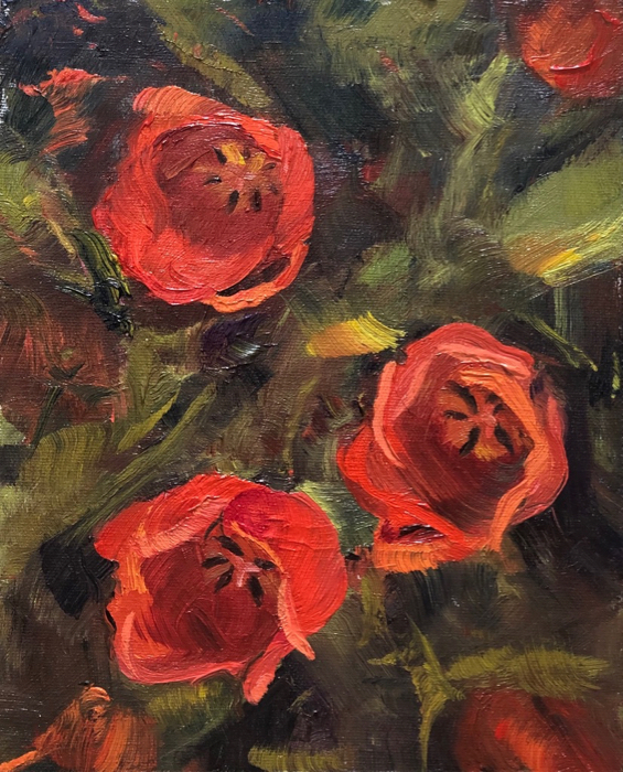 Red Tulips, 12x9, oil