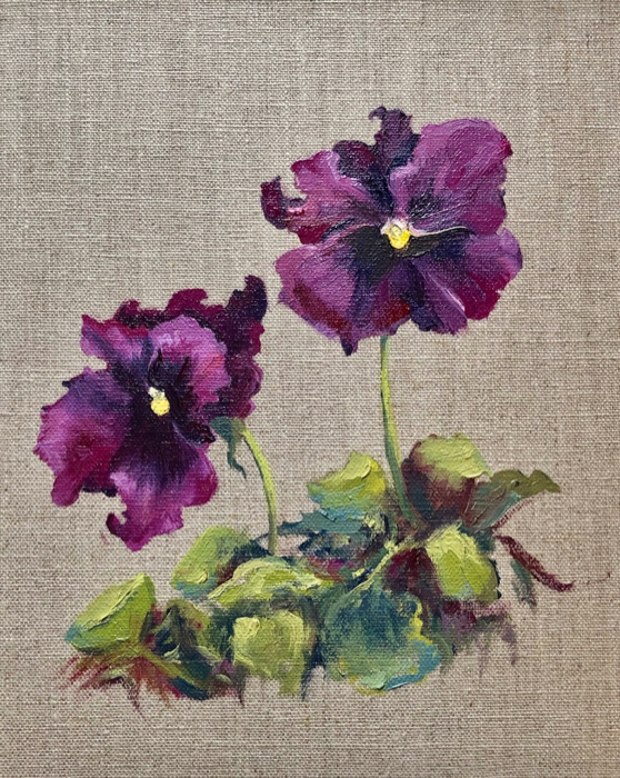 Violet Pansies, 12x9, oil