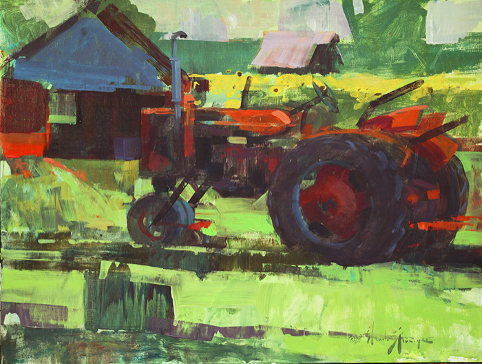 Mr. B's Farmall, 18x24,  acrylic