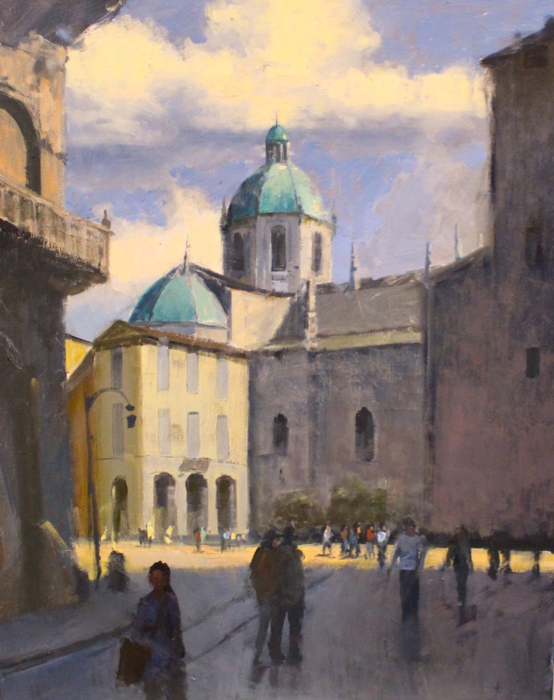 Spanish Plaza, 30x24, oil*