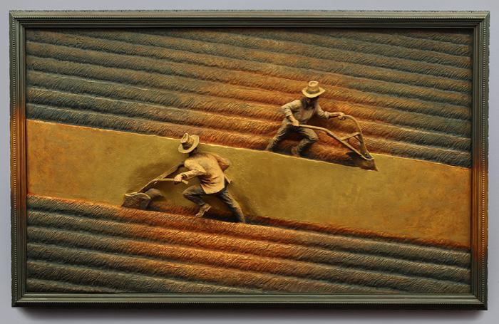 Common Ground, 40x25, wood, metal, gold leaf, oil paint
