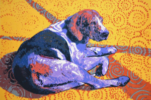 Dizygotic Hound Left, 20x30, hand pulled serigraph