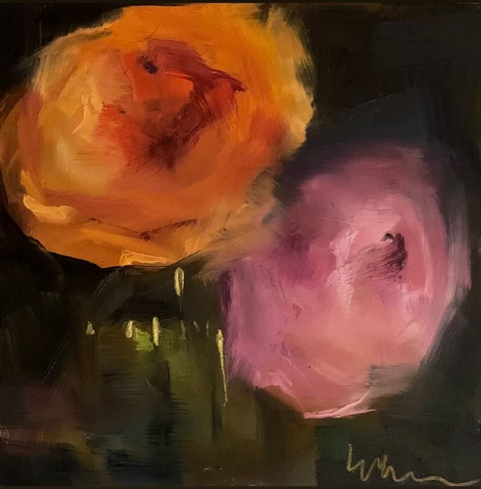 Pink & Orange Ranunculus, 6x6, oil