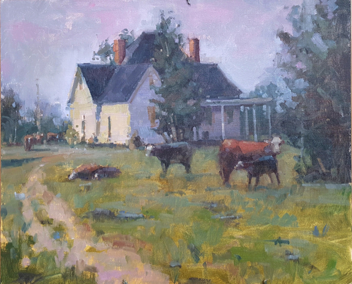 SOLD - And The Cows Came Home, 20x24, oil