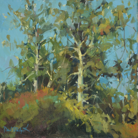 SOLD - Dancing Trees, 14x14, oil