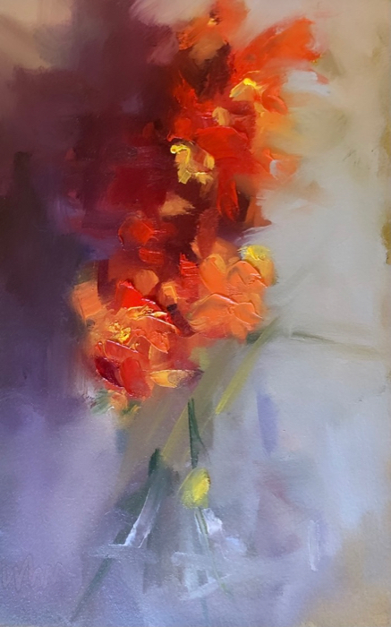 Red Hot Snapdragons, 12x8, oil