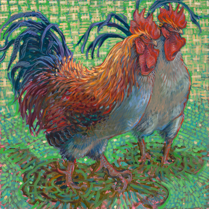 Two Roosters, 30x30, oil