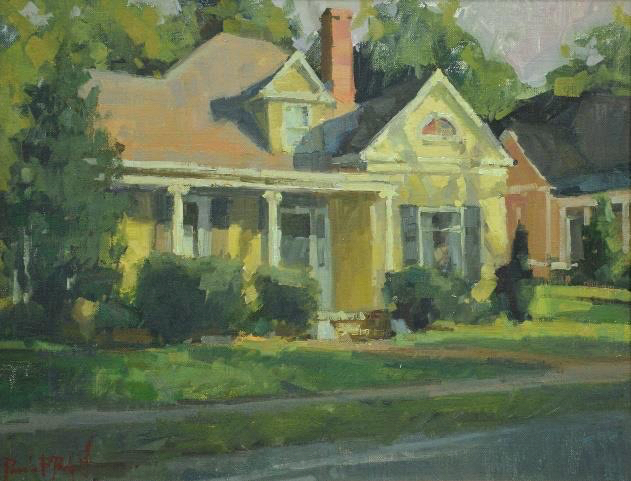 Yellow Bungalow On West Main, 14x18, oil