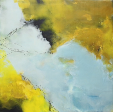 Beginning at the Middle, 30x30, encaustic