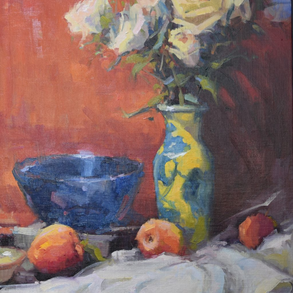 Cadmium Vase on Ruben Red  18x24, oil