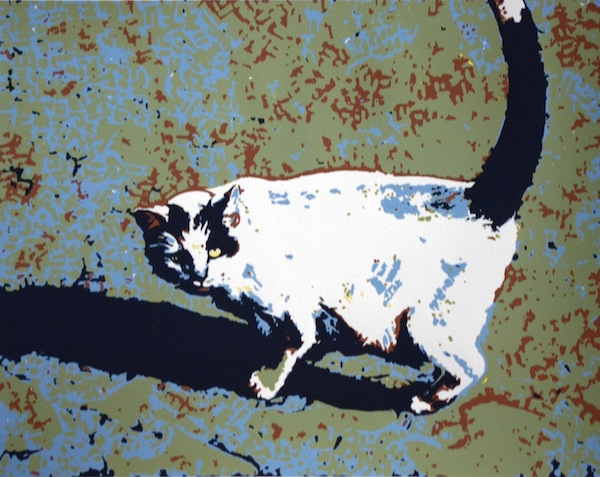 Cat Right • 12x15 1/2. Hand pulled serigraph