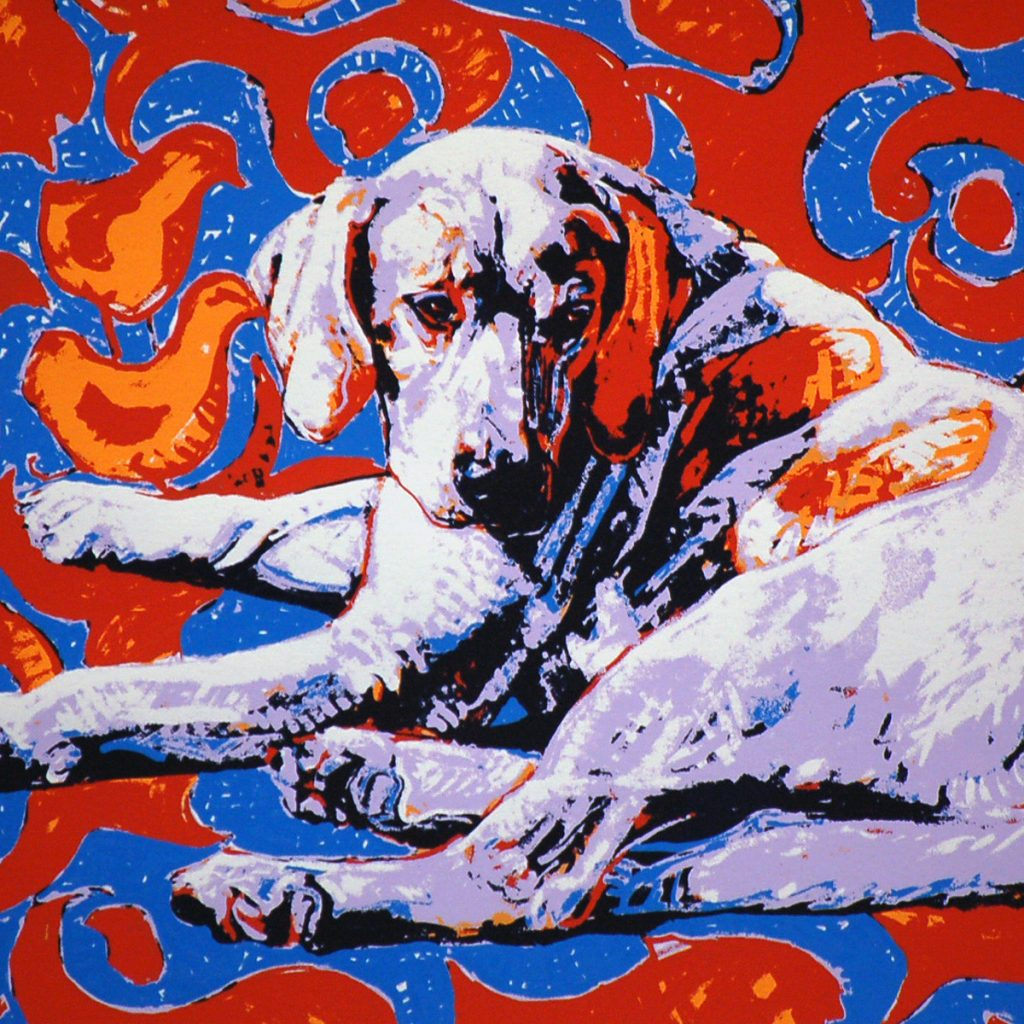 Fraternal Hound Right, Original Hand-pulled Serigraph •