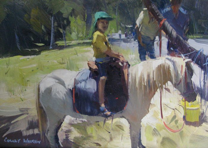 His First Ride, 7x10, oil