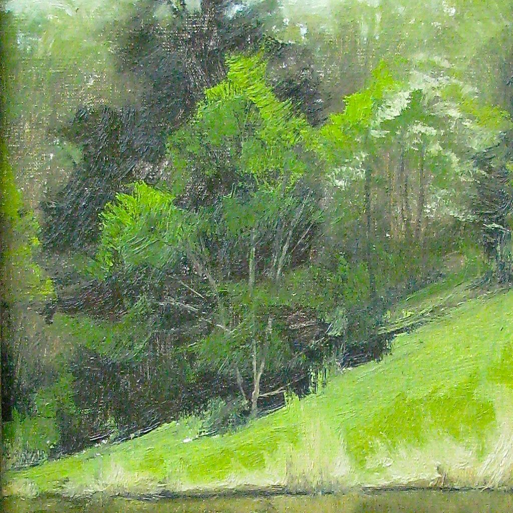 SOLD - Spring on Newberry Pond, 12x9, oil