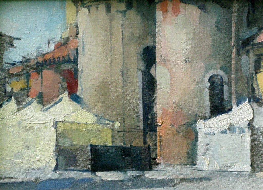 SOLD - San Giacomo Tents, 11x15, oil on linen
