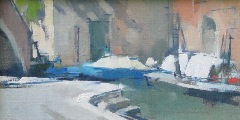 Boats and Steps, 9x17, oil on linen