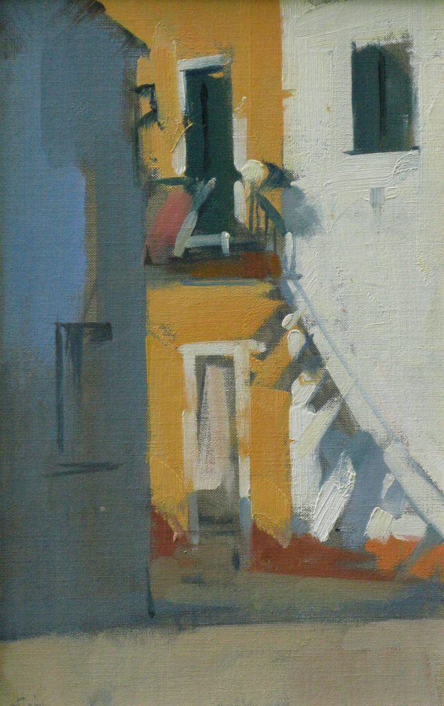 Burano Blue on White, 14x9, oil on linen