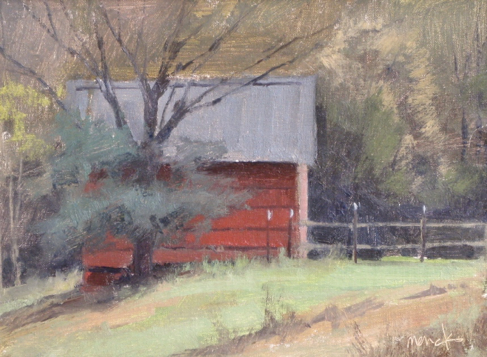 The Red Shed, 9x12, oil
