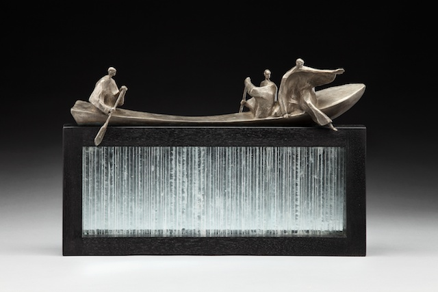 "Out of the Boat • 12""x15""x4"", bronze and glass limited edition of 25"