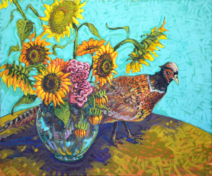 Pheasant and Sunnies, 20x38, oil